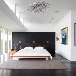 Design ideas for an expansive contemporary master bedroom in London with white walls, dark hardwood flooring and no fireplace.
