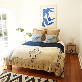 Example of an eclectic medium tone wood floor bedroom design in Los Angeles with white walls