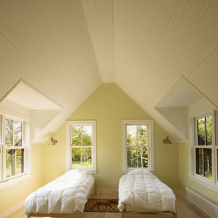 Inspiration for a mid-sized contemporary guest light wood floor bedroom remodel in Burlington with yellow walls
