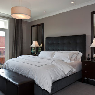 Trendy bedroom photo in Chicago with gray walls