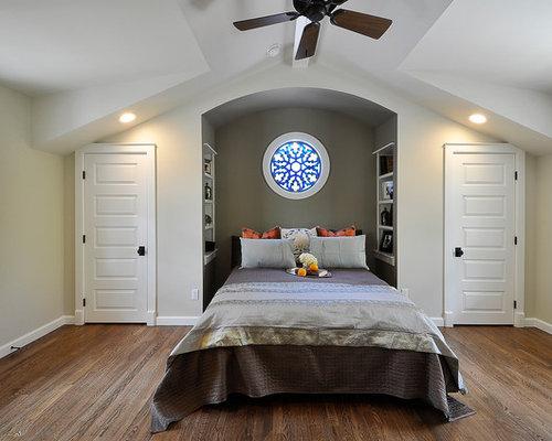 Elegant dark wood floor bedroom photo in Austin with gray walls. Closet Dormer   Houzz