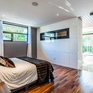 Diseño de dormitorio principal, actual, grande, sin chimenea, con paredes grises, suelo de madera en tonos medios y marco de chimenea de baldosas y/o azulejos