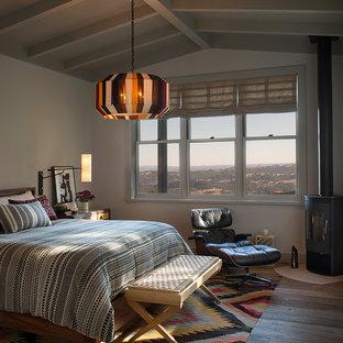 Ejemplo de dormitorio campestre con paredes blancas, suelo de madera en tonos medios, estufa de leña y suelo marrón