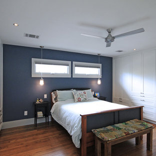 Mid-sized transitional master bedroom in Houston with blue walls, medium hardwood floors, no fireplace and brown floor.