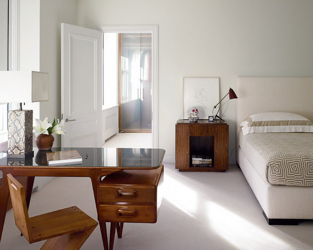 Transitional Bedroom by Dirk Denison Architects
