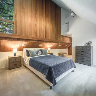 Bedroom - contemporary carpeted and gray floor bedroom idea in San Francisco with white walls