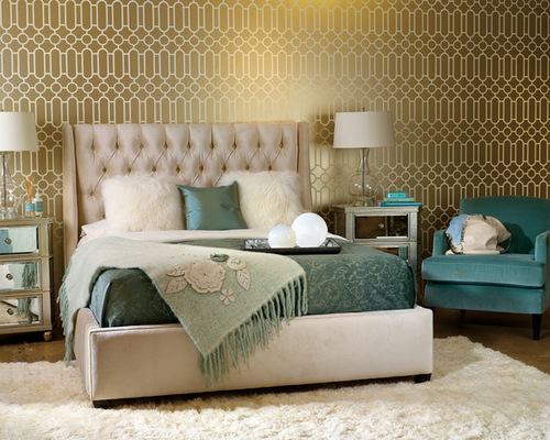 Bedroom In Teal And Gold | Houzz