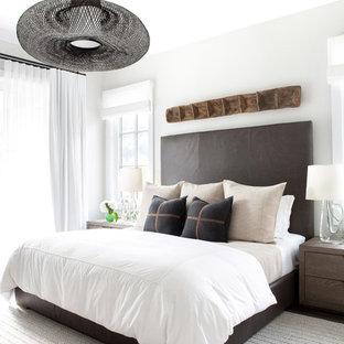 Medium sized rural master bedroom in New York.
