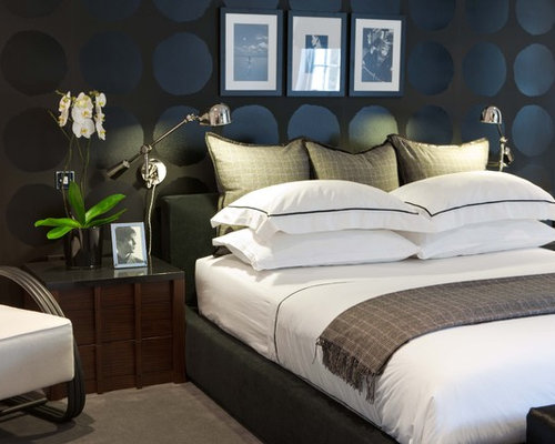 Trendy Bedroom Photo In London With Black Walls