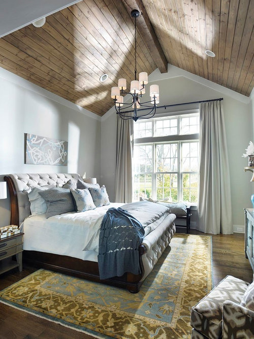 Inspiration for a mid-sized farmhouse master dark wood floor bedroom  remodel in Nashville with