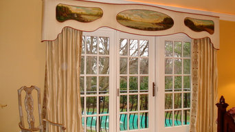 An elegant custom cornice board window treatment beautifully hand painted.