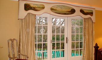 An elegant custom cornice board window treatment beautifully hand painted.