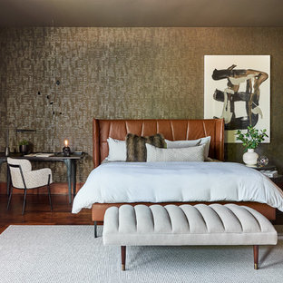 Inspiration for a mid-sized contemporary master dark wood floor and brown floor bedroom remodel in Charlotte with brown walls