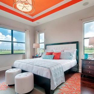 Inspiration for a transitional bedroom remodel in Miami with white walls