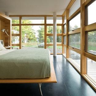 Modelo de dormitorio principal, actual, grande, sin chimenea, con paredes beige, suelo de madera pintada y suelo negro