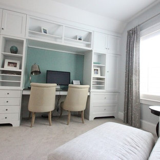 Example of a mid-sized transitional master carpeted bedroom design in Charlotte with gray walls and no fireplace