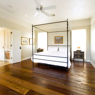Inspiration for a large rustic master dark wood floor and brown floor bedroom remodel in Austin with beige walls and no fireplace