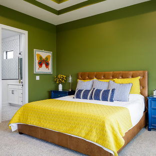 Transitional master carpeted and gray floor bedroom photo in Other with green walls