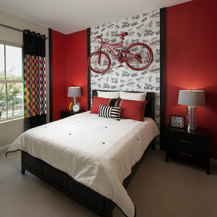 Trendy carpeted bedroom photo in Phoenix with red walls