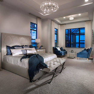 Mid Sized Trendy Master Carpeted And Beige Floor Bedroom Photo In Other With Walls