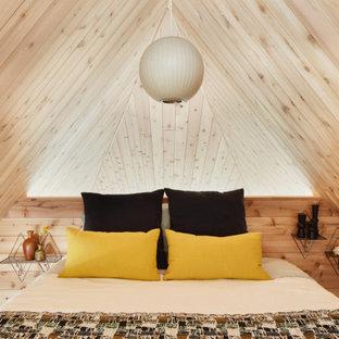 ニューヨークの小さいミッドセンチュリースタイルのおしゃれなロフト寝室 (三角天井、板張り壁) のレイアウト