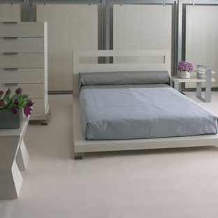 Modelo de dormitorio principal, contemporáneo, con paredes blancas y suelo de linóleo