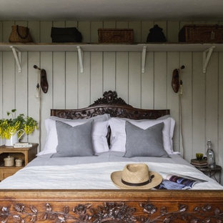 Inspiration for a small country guest bedroom in Other with white walls.