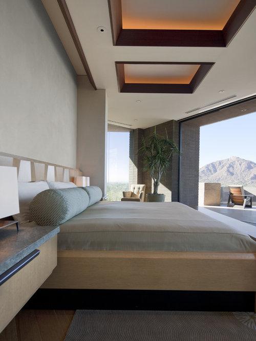 Southwestern Dark Wood Floor Bedroom Idea In Phoenix With Gray Walls