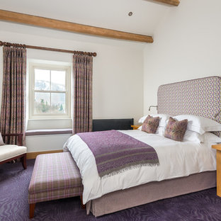 Photo of a country bedroom in Other with white walls, carpet, no fireplace and purple floor.