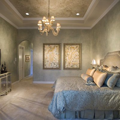 Inspiration for a timeless carpeted and beige floor bedroom remodel in Miami with gray walls