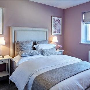 Modelo de habitación de invitados clásica renovada, de tamaño medio, con paredes rosas