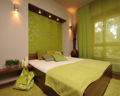 Delightful Inspiration For A Contemporary Green Floor Bedroom Remodel With Green Walls