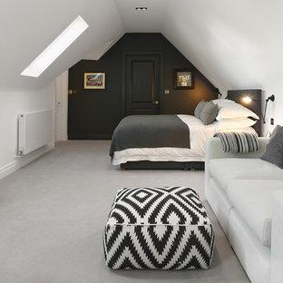 Esempio di una camera da letto contemporanea con pareti bianche, moquette e nessun camino