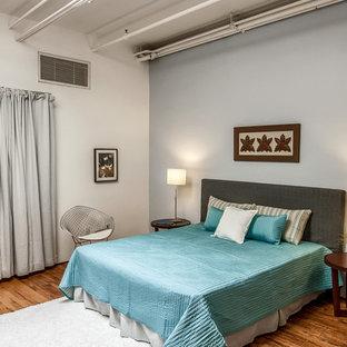 Diseño de dormitorio tipo loft, industrial, grande, sin chimenea, con paredes grises y suelo de madera en tonos medios