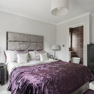 Medium Sized Contemporary Master Bedroom In Berkshire With Carpet And Grey Walls
