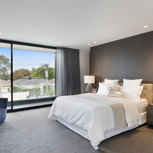 Photo of a mid-sized contemporary master bedroom in Melbourne with carpet, grey walls and grey floor.