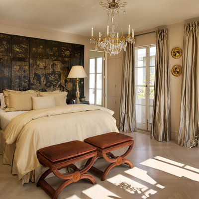 Bedroom - traditional master light wood floor bedroom idea in San Francisco with beige walls and no fireplace