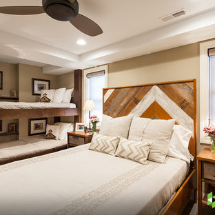 Mountain style guest bedroom photo in Other with beige walls and no fireplace