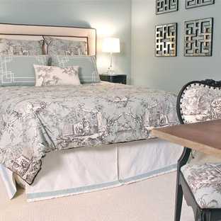 Inspiration for a mid-sized asian guest carpeted bedroom remodel in New York with blue walls and no fireplace