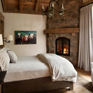Bedroom - mid-sized rustic guest medium tone wood floor bedroom idea in Denver with white walls, a corner fireplace and a stone fireplace