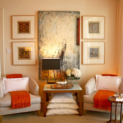 Example of a transitional carpeted bedroom design in Orange County with beige walls