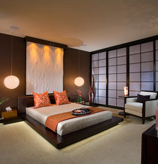 asian bedroom by International Custom Designs