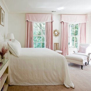 Transitional bedroom photo in Atlanta with white walls
