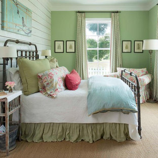 Design ideas for a country bedroom in Dallas with green walls, carpet, no fireplace and beige floor.