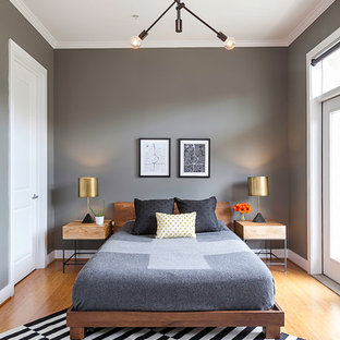 Inspiration for a mid-sized modern loft-style light wood floor bedroom remodel in Atlanta with gray walls and no fireplace