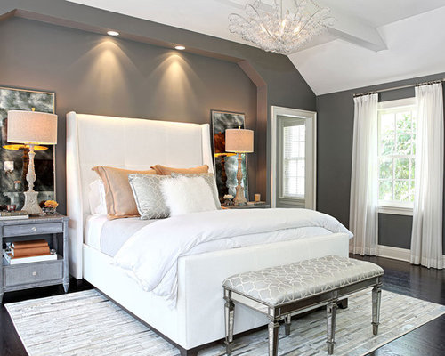 Bedroom   Large Transitional Master Dark Wood Floor Bedroom Idea In New  York With Gray Walls