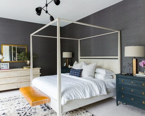 inspiration for a large beach style master carpeted and gray floor bedroom remodel in salt lake