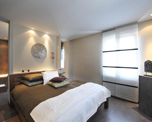 Asiatisches Schlafzimmer Mit Betonboden Und Grauem Boden In Montreal