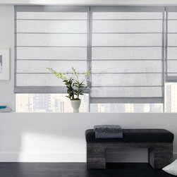 "Aventura Roman Shade - as shown: aventura roman shade | sheer elegance | silver | 30"" x 54"" 