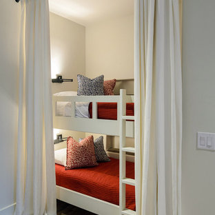 Example of a mountain style bedroom design in Austin with white walls